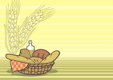 Basket of breads background. Basket of breads in light yellow background. Great for presentations or a page layout Stock Photo