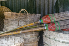 Basket and brooms Royalty Free Stock Images