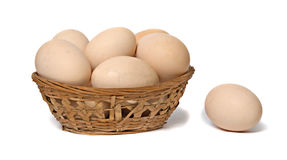 Basket with brown eggs Royalty Free Stock Photos