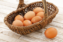 Basket of brown eggs Stock Photo