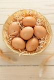 Basket Of Brown Eggs Royalty Free Stock Image