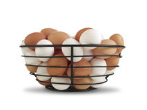 Basket of Brown and White Eggs Stock Images