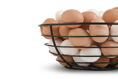 Basket of Brown and White Eggs Royalty Free Stock Image