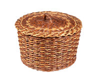 Basket brown-yellow made using newspaper tubes Royalty Free Stock Image