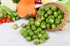Basket of Brussel Sprouts Stock Images