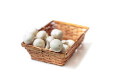 Basket with bunch of white mushrooms close up differential focus Stock Photo