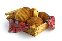 Basket with buns Stock Images