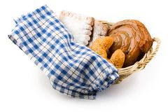 Basket of buns Stock Images