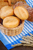 Basket with buns on the tablecloth. Wicker basket with buns on the tablecloth Stock Image