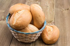 Basket with buns on wooden background Royalty Free Stock Images