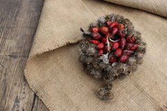 Basket of burdock seeds and rose hips Royalty Free Stock Photography