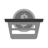 Basket buy coin dollar gray color. Vector illustration eps 10 Stock Photos