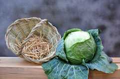 basket and cabbage Royalty Free Stock Photos