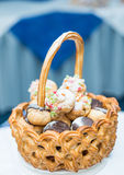 Basket with cake Royalty Free Stock Photos