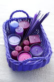 Basket with candles Royalty Free Stock Photography