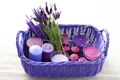 Basket with candles Royalty Free Stock Image