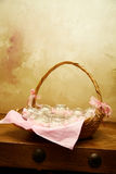 Basket with candles Royalty Free Stock Photo