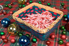 Basket of Candy Canes Royalty Free Stock Photos