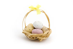 Basket of candy coated chocolate easter eggs Royalty Free Stock Images