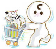 Basket Cart Dog Bull Terrier shopping Stock Photo