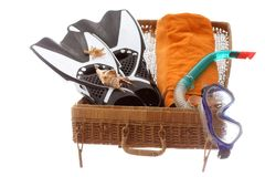 Basket case with beach equipment. For travelling Royalty Free Stock Photography