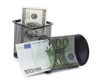 Basket and cash Royalty Free Stock Image