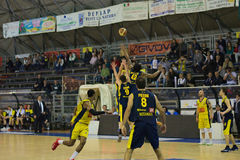 Basket,challenge,match,ball. Scafati last league game of the team Givova Scafati Basket against US Basketball Recanati . Victory of Scafati Basket for 86 to 81 Royalty Free Stock Photo