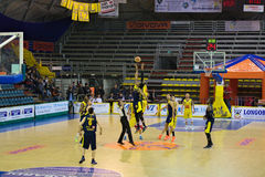 Basket,challenge,match,chest,. Scafati last league game of the team Givova Scafati Basket against US Basketball Recanati . Victory of Scafati Basket for 86 to 81 Stock Images
