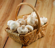 Basket with Champignons Royalty Free Stock Photos