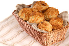 Basket of cheddar cheese biscuits Royalty Free Stock Photo