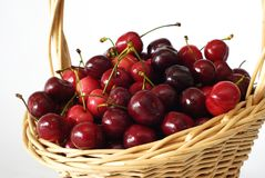 Basket with cherries Royalty Free Stock Image