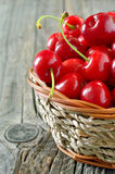 Basket of cherries Stock Photo