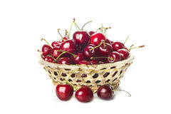 Basket with cherries isolated on a white background Stock Image