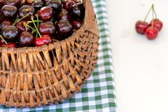 Basket of cherries Stock Image