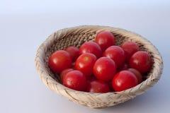 Basket of cherry tomato Stock Photo
