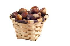 Basket of chestnuts, autumn fruits, isolated. On white Royalty Free Stock Image