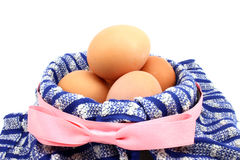 Basket  with chicken eggs Stock Image