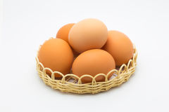 A basket of chicken eggs Royalty Free Stock Photography