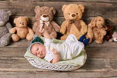 Basket, child and teddybears. Stock Photo