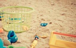 Basket of Children sandbox on a beach. Basket of Children sandbox toy on a beach Royalty Free Stock Photos