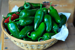 Basket of chili peppers Royalty Free Stock Images