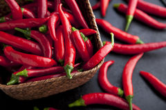 Basket of Chilies Stock Photo