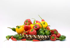 Basket of Chillies stock images