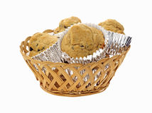 Basket Chocolate Chip Muffins Stock Images