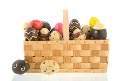 Basket chocolate eggs Royalty Free Stock Photography