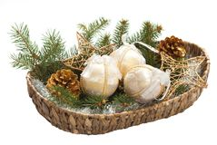 Basket with christmas bulb Royalty Free Stock Photo