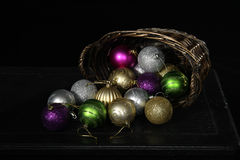 Basket of Christmas Bulbs Stock Photos