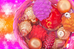 Basket with Christmas decorations Royalty Free Stock Photos
