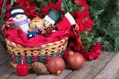 Basket of Christmas Ornaments Stock Image