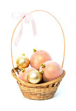 Basket with Christmas pink and gold balls Royalty Free Stock Photos